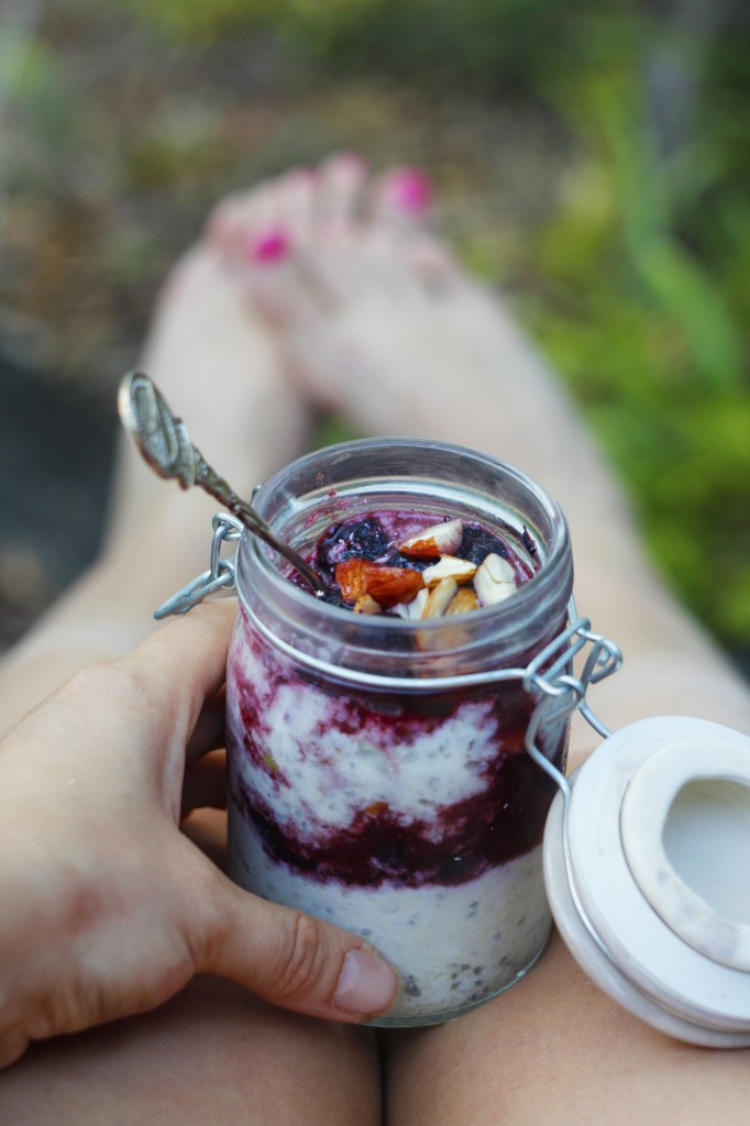 coconut and blueberry bircher