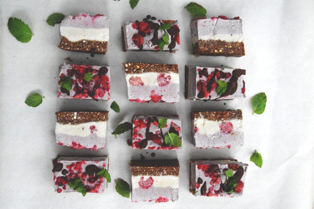 Raw Cacao, Raspberry Mint Cheesecake Slice