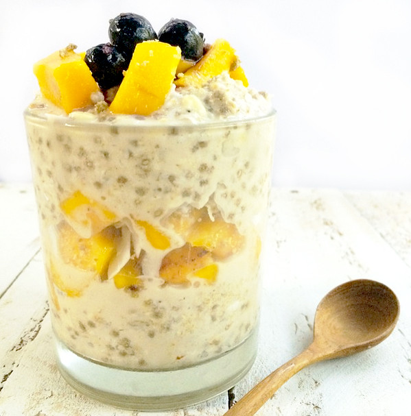 Overnight Chia Coconut Oats with Mango