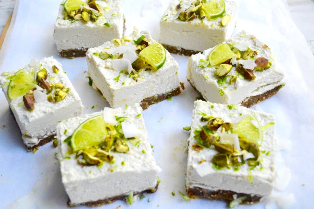 Raw Pistachio, Coconut & Lime Cheesecakes