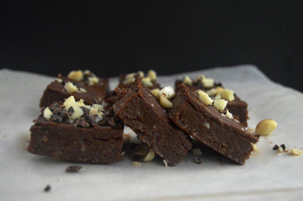 Raw Chocolate Macadamia Nut Fudge Brownies