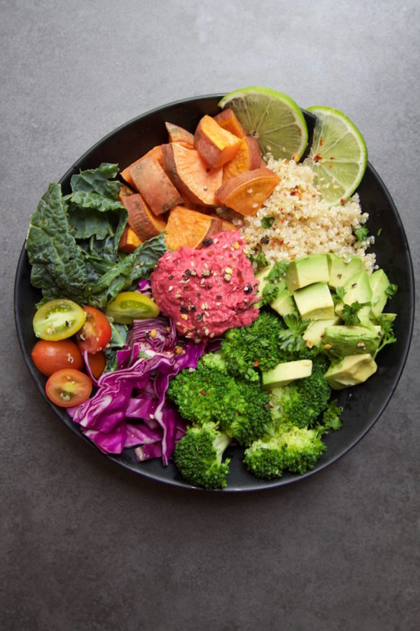 Nourish Bowl with Beetroot Hommus