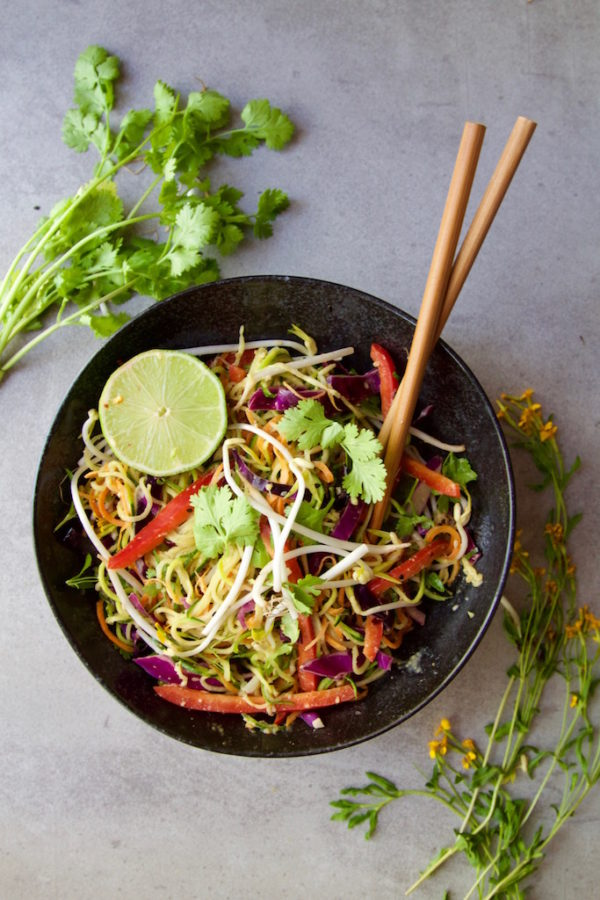 Vegetable Noodle Pad Thai + A Peanut Sauce (Vegan+Gluten Free)