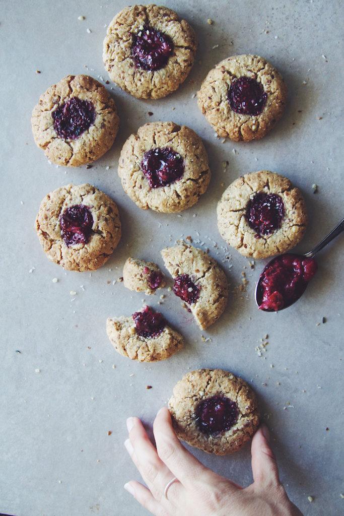 Berry Chia Jam Thumbprint Cookies (Vegan + GF)